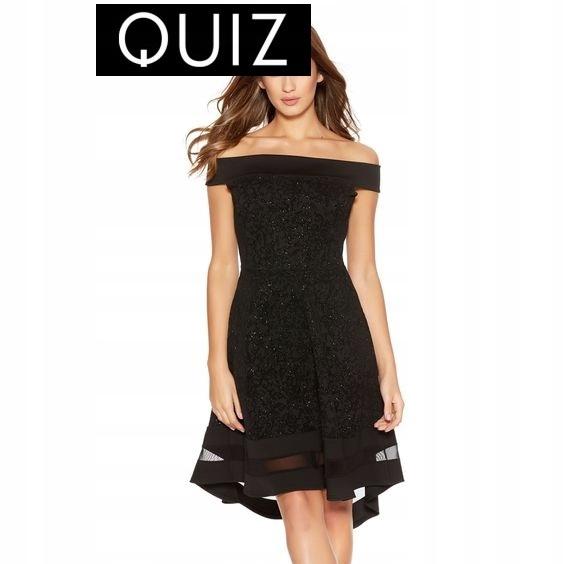 57a2b18647  QUIZ LONDON   CZARNA sukienka wieczorowa 40 NOWA - 7679657852 ...