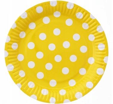 Talerzyki papierowe Groszki żółte 23 cm 6 szt