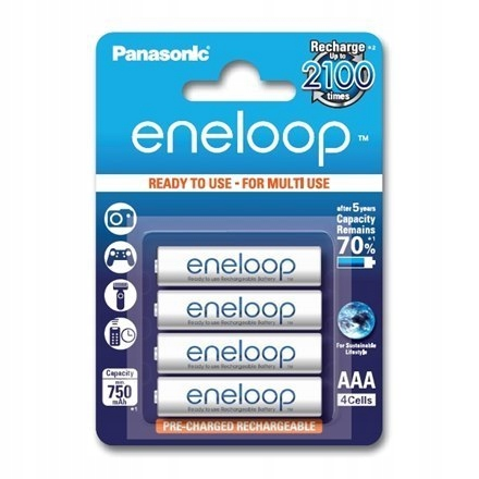 Panasonic eneloop AAA/HR03, 750 mAh, Rechargeable