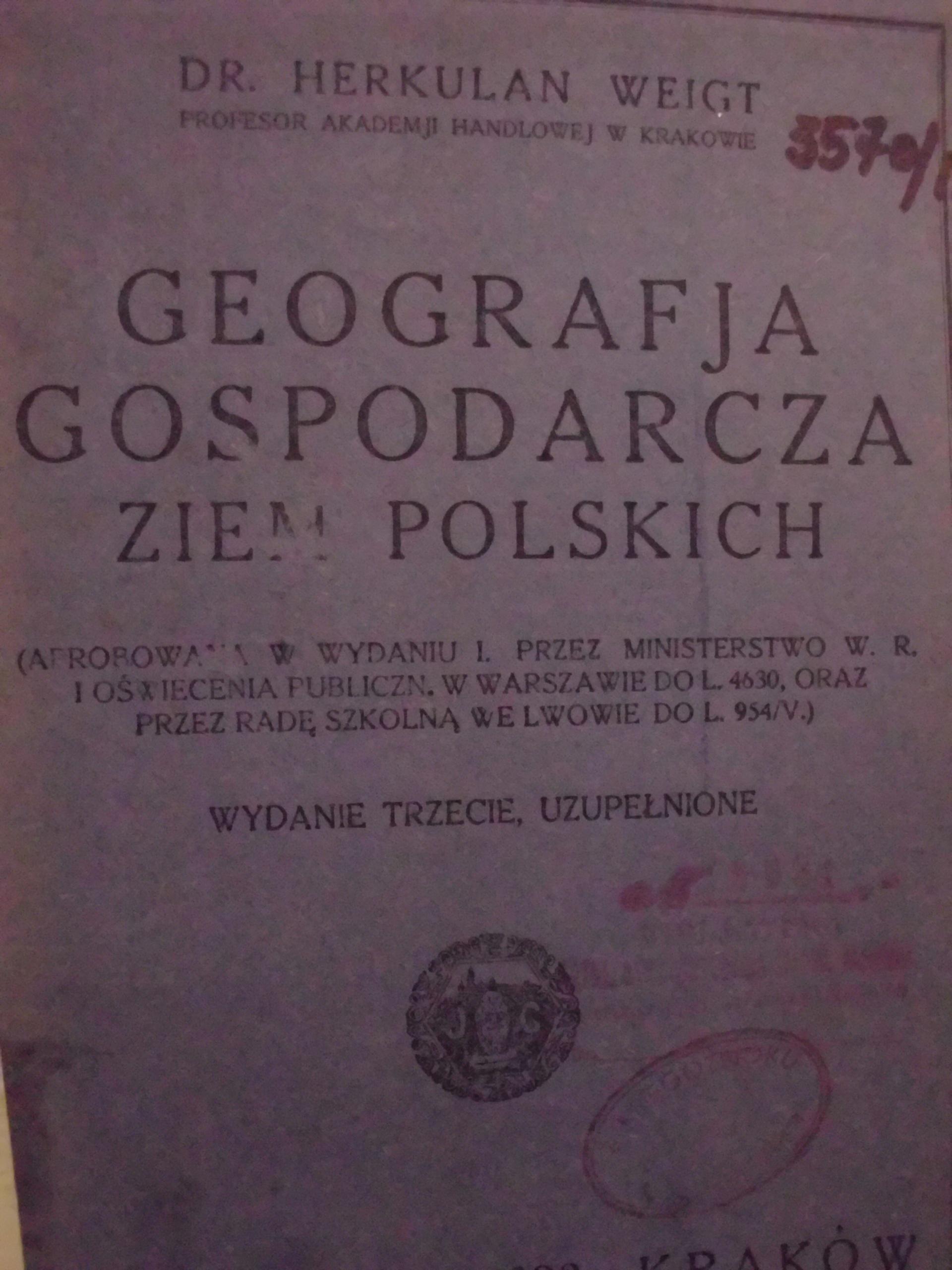 Weigt Geografja gospodarcza ziem polskich (1924)