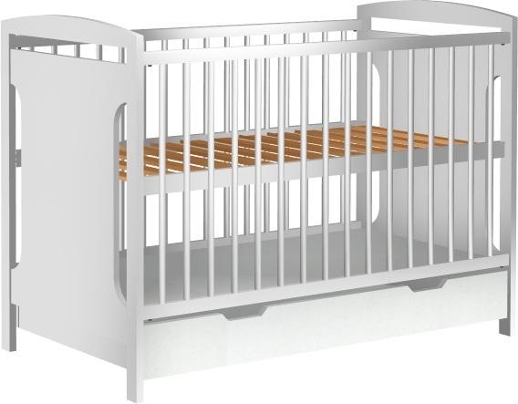 Łóżeczko dziecięce JAŚ z szufladą 120x60cm białe