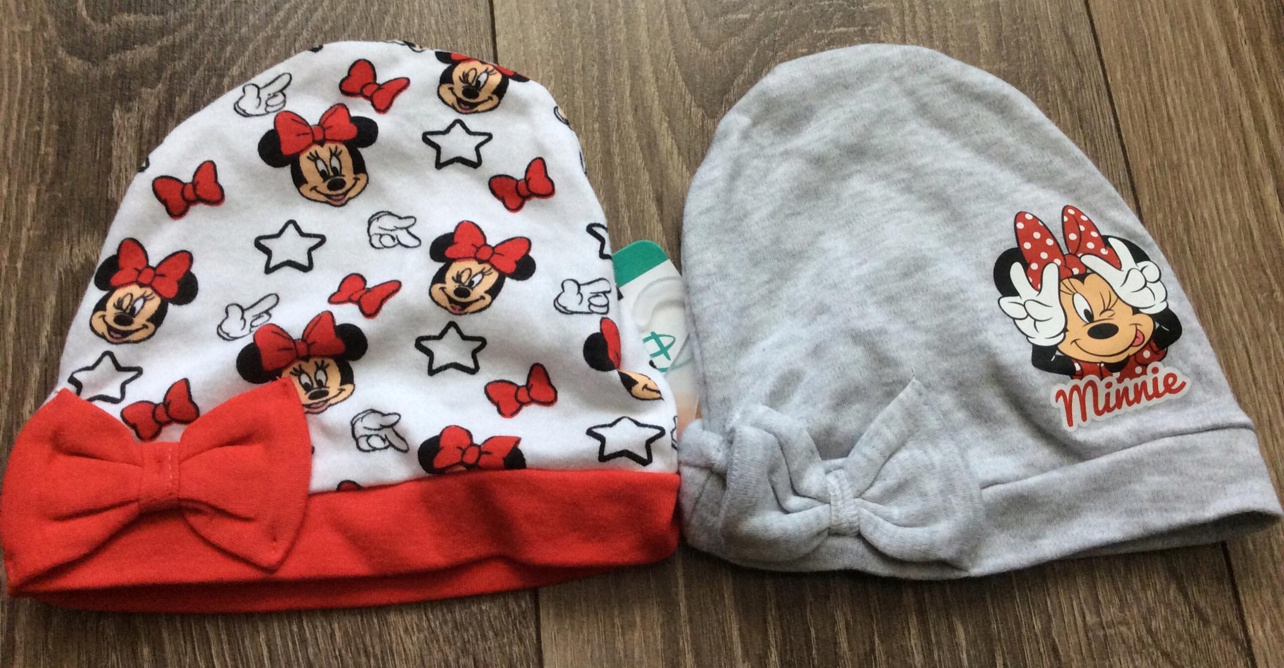 Disney dwie czapeczki Minnie 68/74 nowe