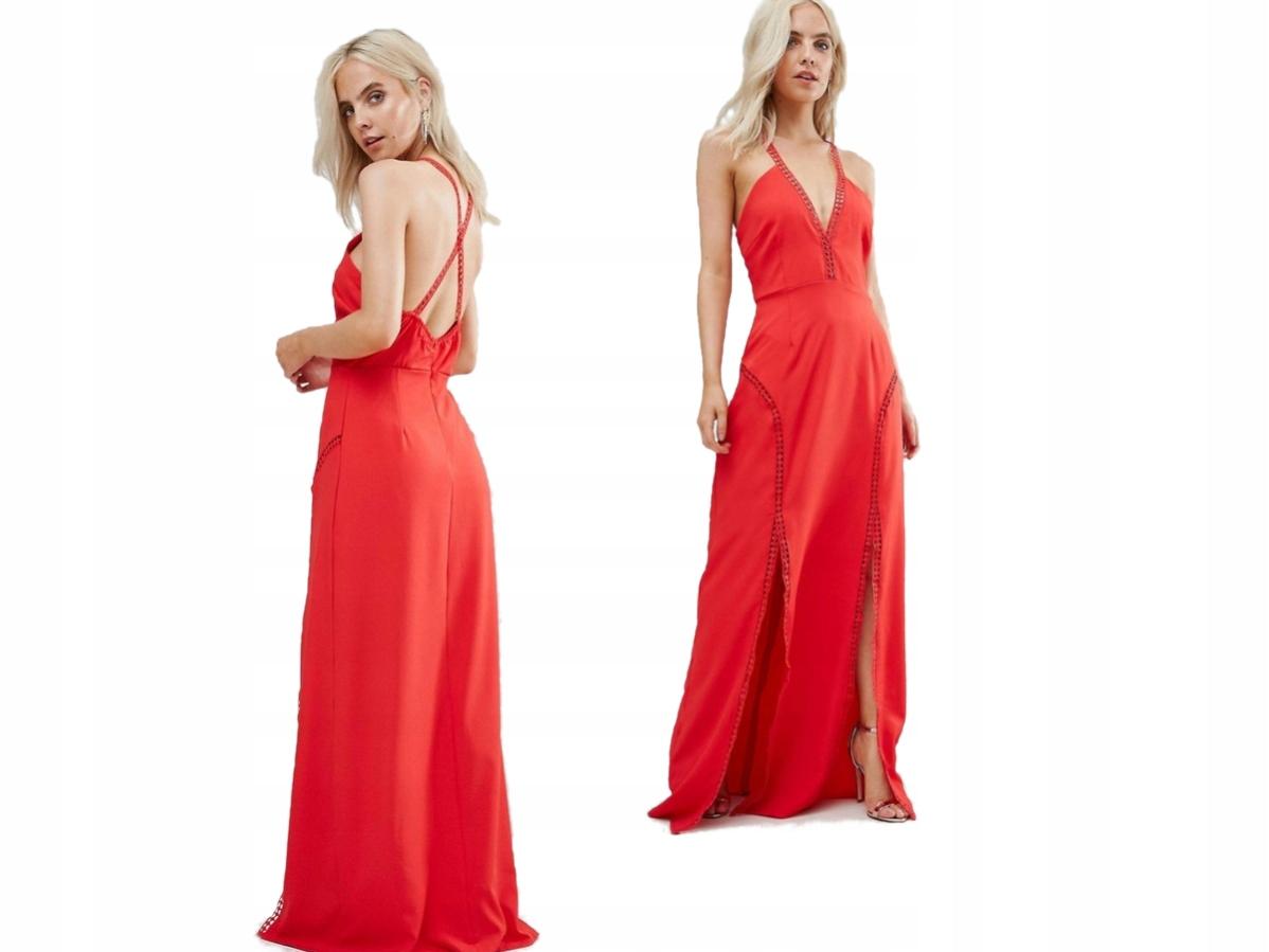 Boohoo Czerwona Sukienka Długa z Wycięciami S