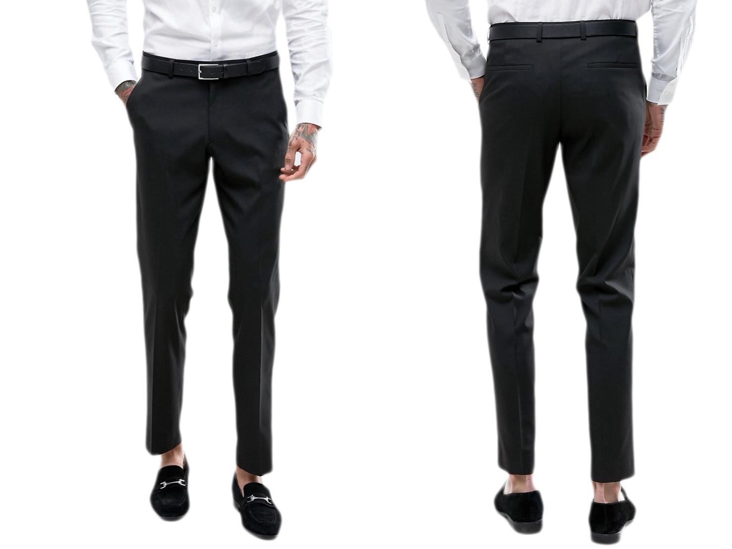 Design-Czarne spodnie eleganckie męskie W36 L32