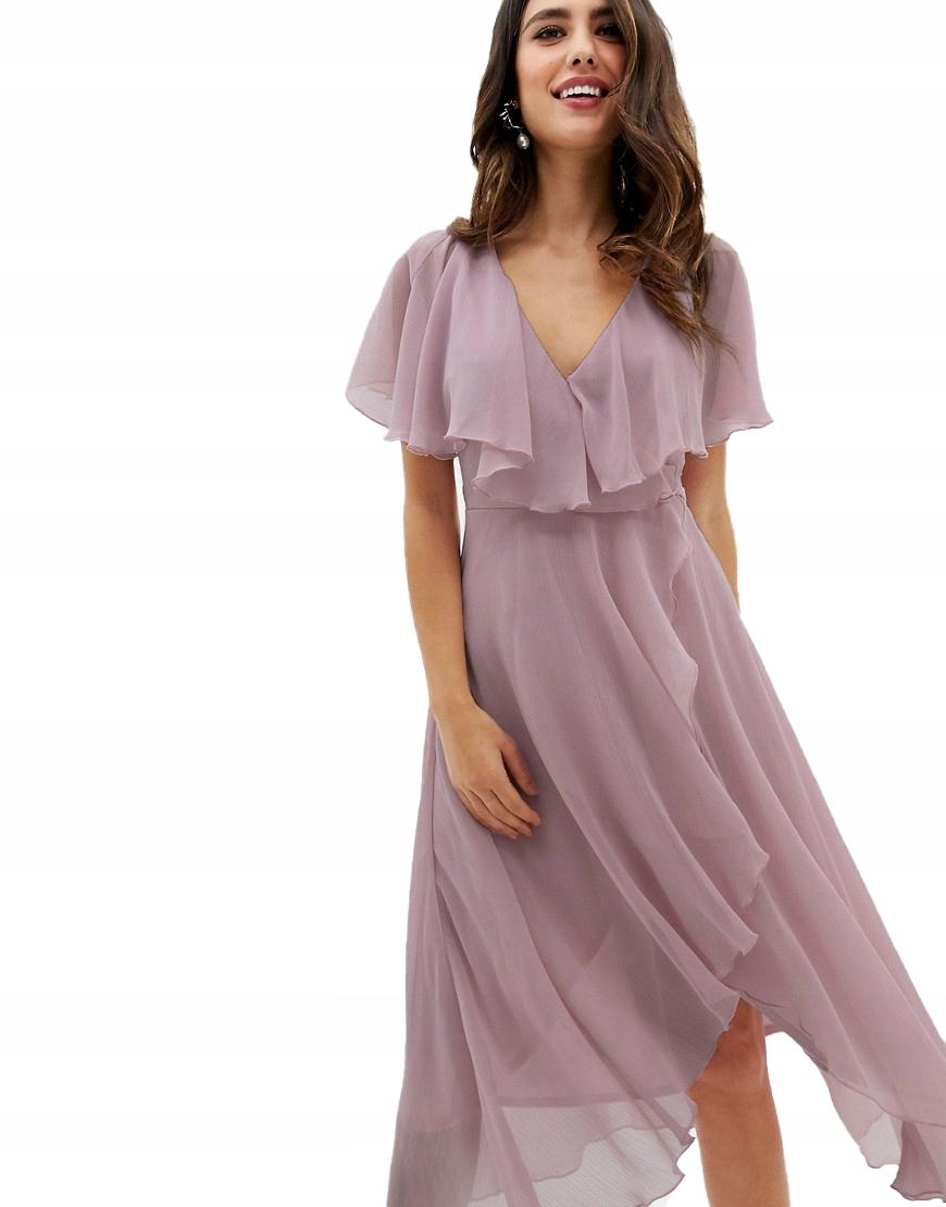 Sukienka MIDI ASYMETRYCZNA WIĄZANA S 36