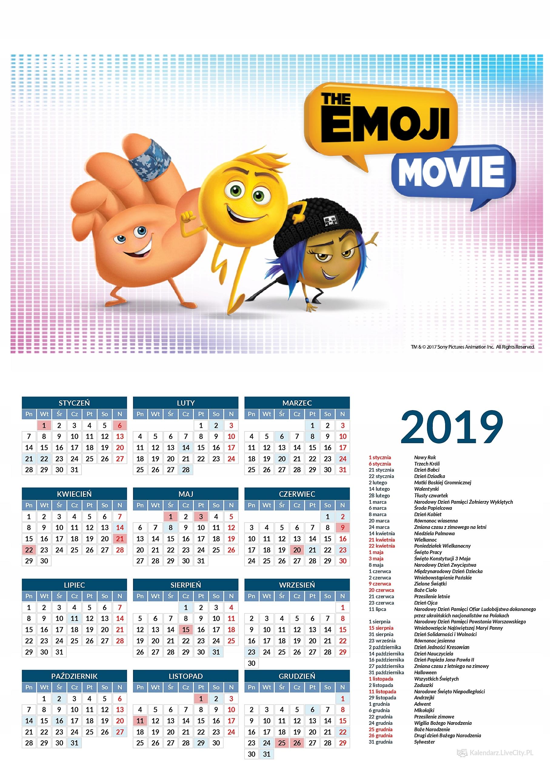 Kalendarz 2019 film the emoji movie