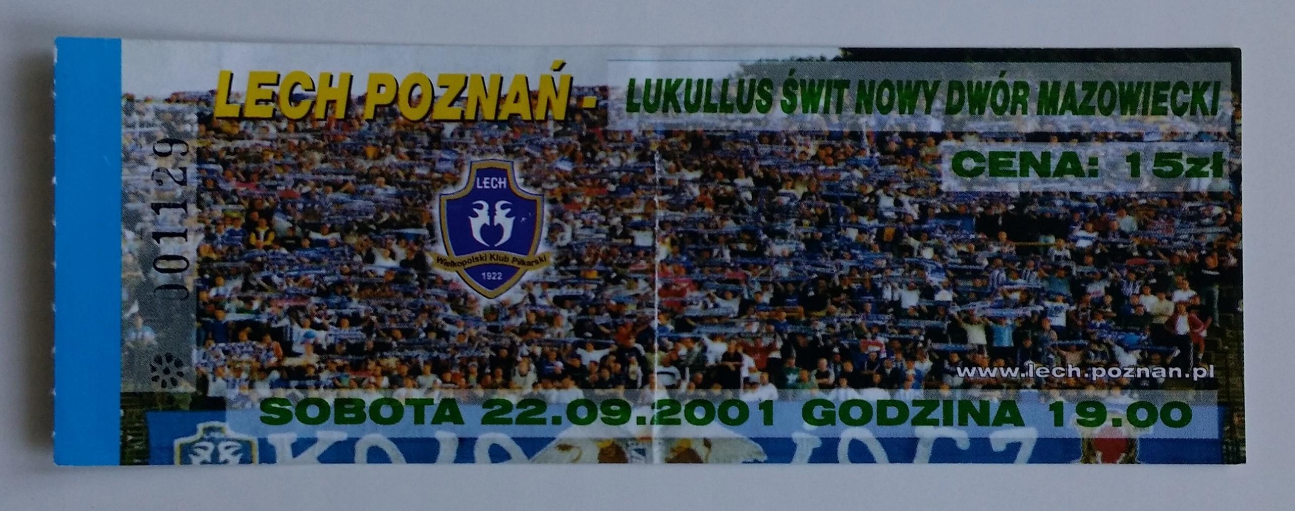 Bilet Lech Poznań - Lukullus Świt 22.09.2001