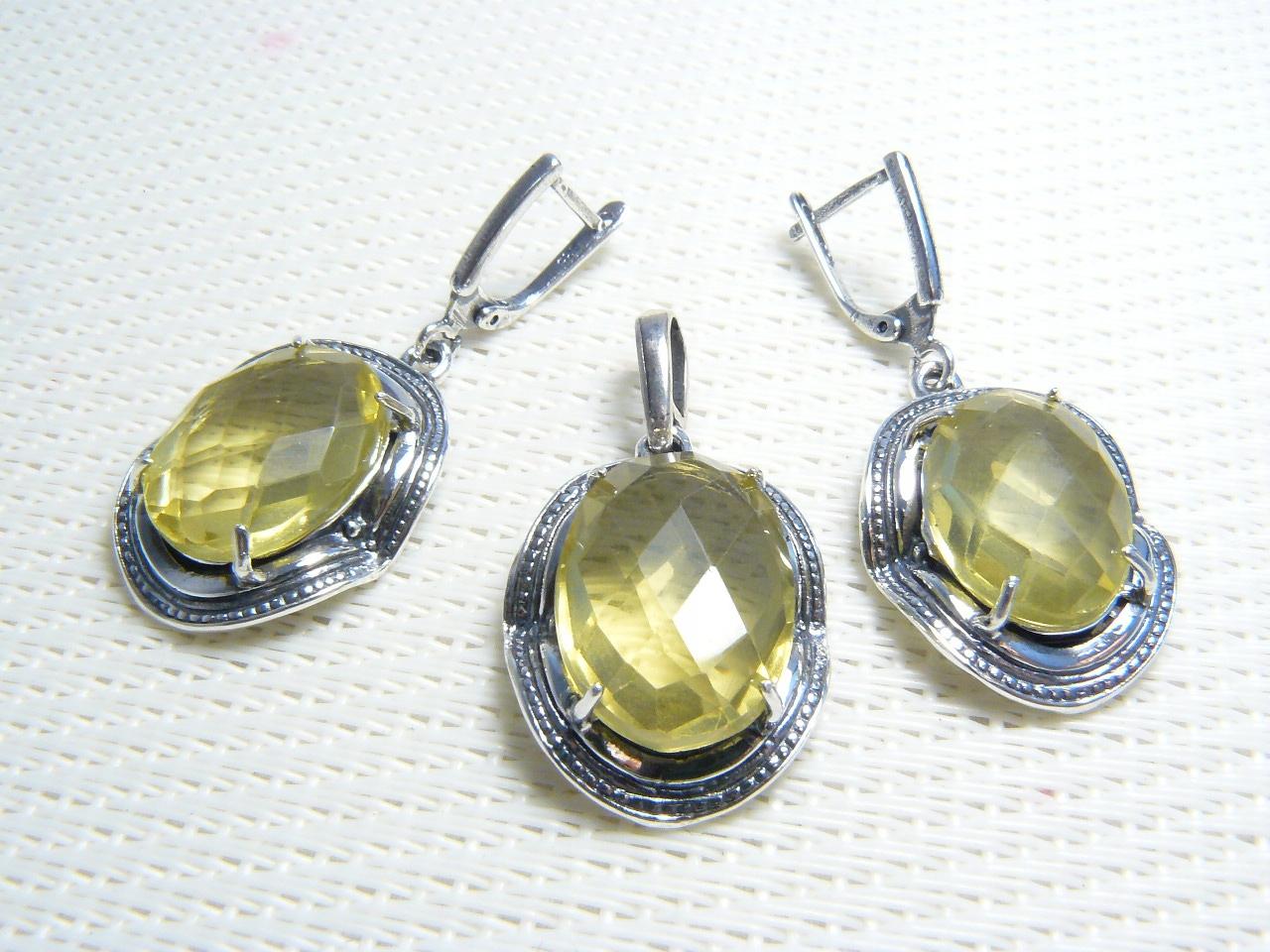 NATURALNY CYTRYN PIĘKNY KOMPLET srebro 925