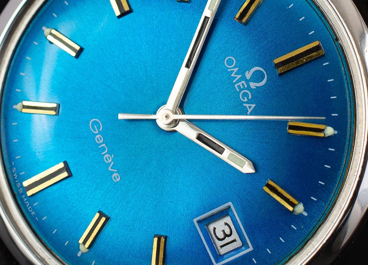 męski zegarek Omega Geneve Blue 1970r IDEALANY