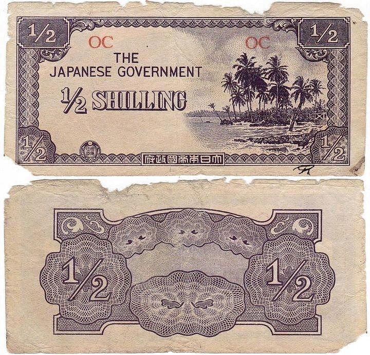 Oceania Okup. Japońska 1/2 Shilling br(1942) P. 1c