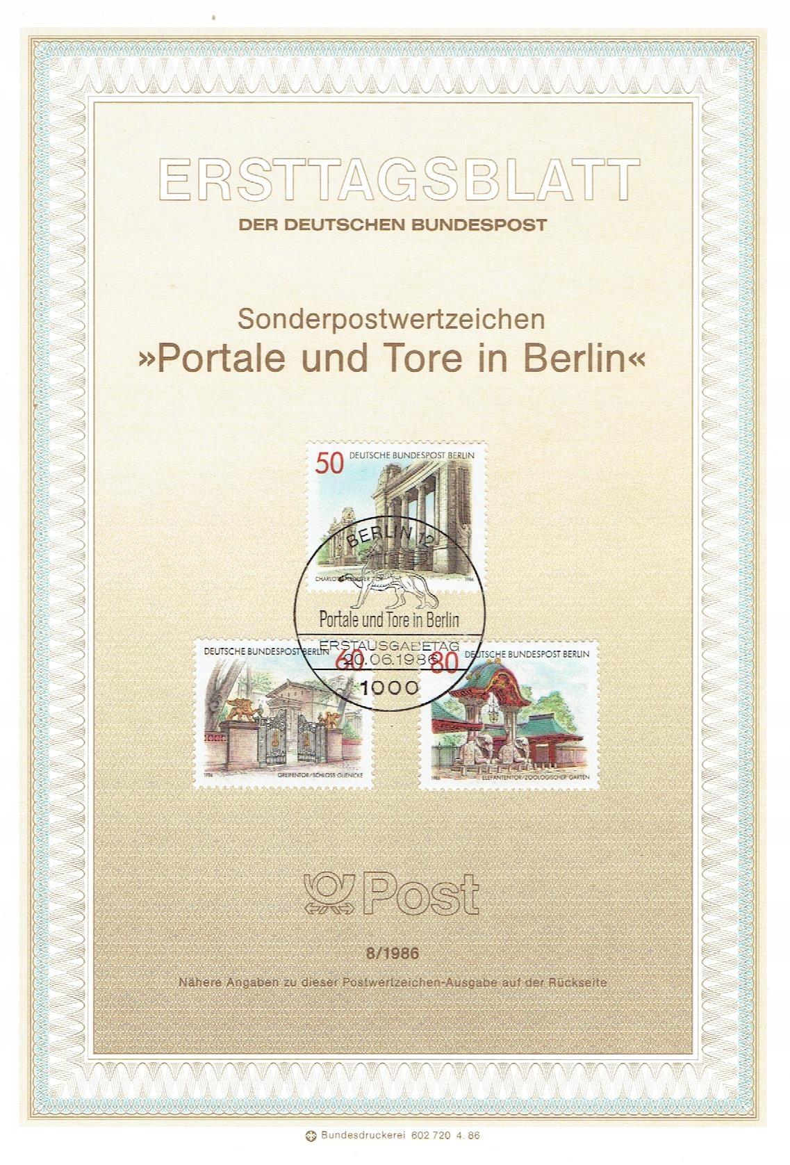 Berlin Zach. - Portale i bramy - Mi. 761-63 ETB