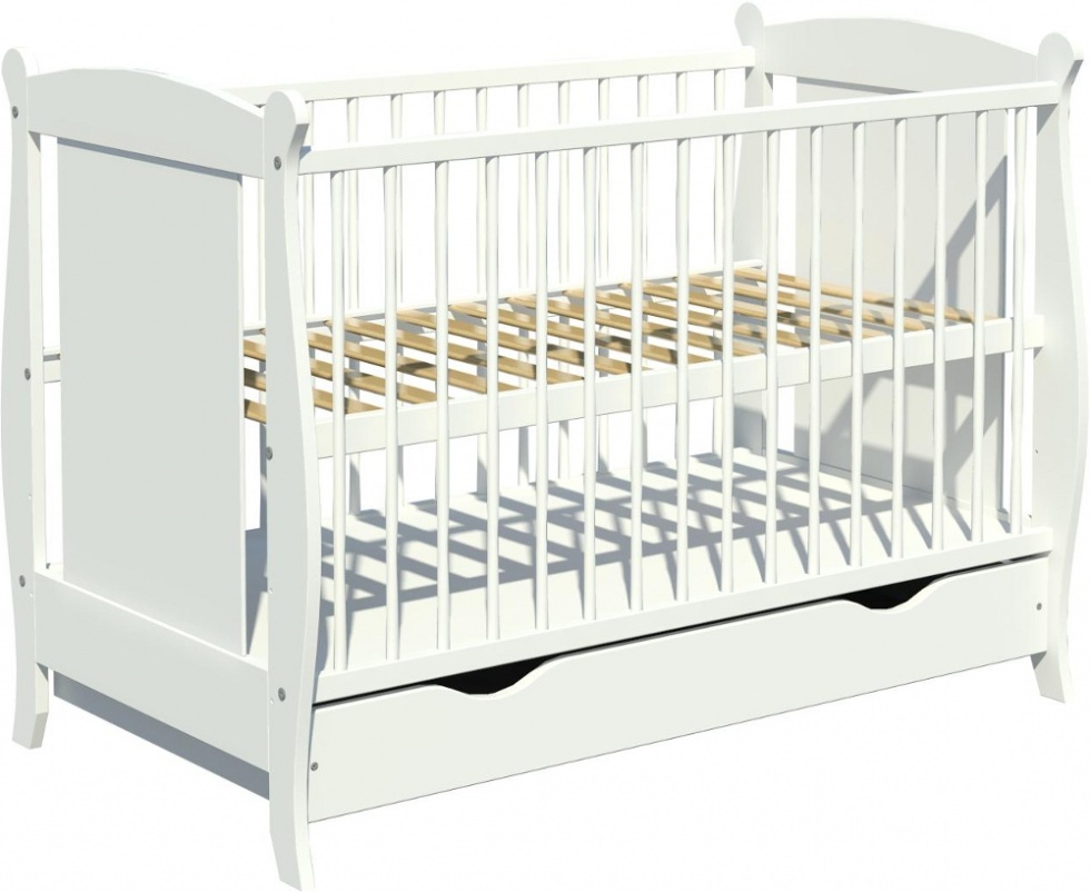 Łóżeczko dziecięce LAURA z szufladą 120x60cm białe