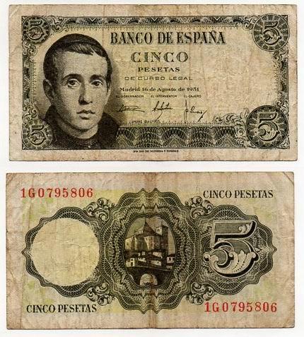 HISZPANIA 1951 5 PESETAS