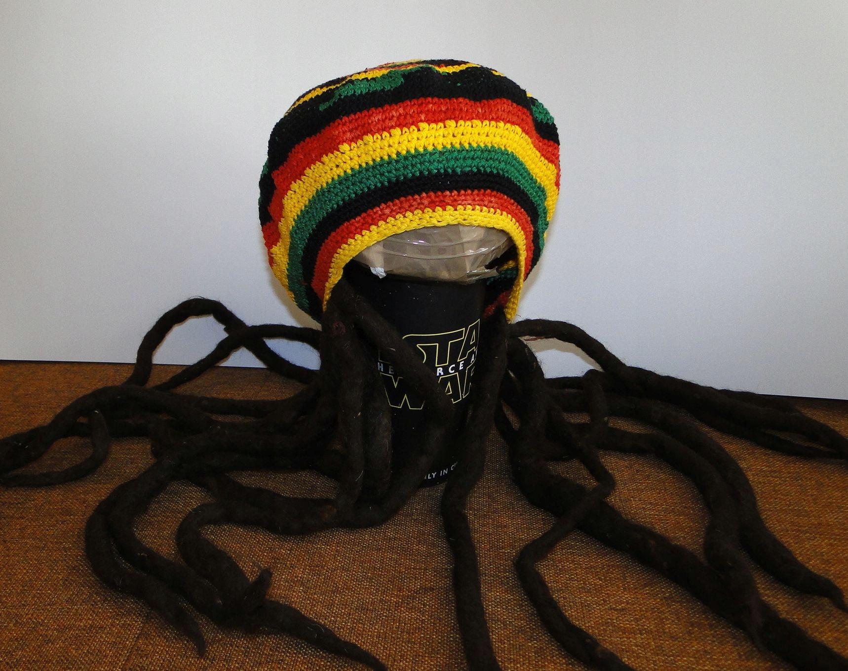 Czapka Bob Marley JAMAICA Dreads z Dredami UNIKAT