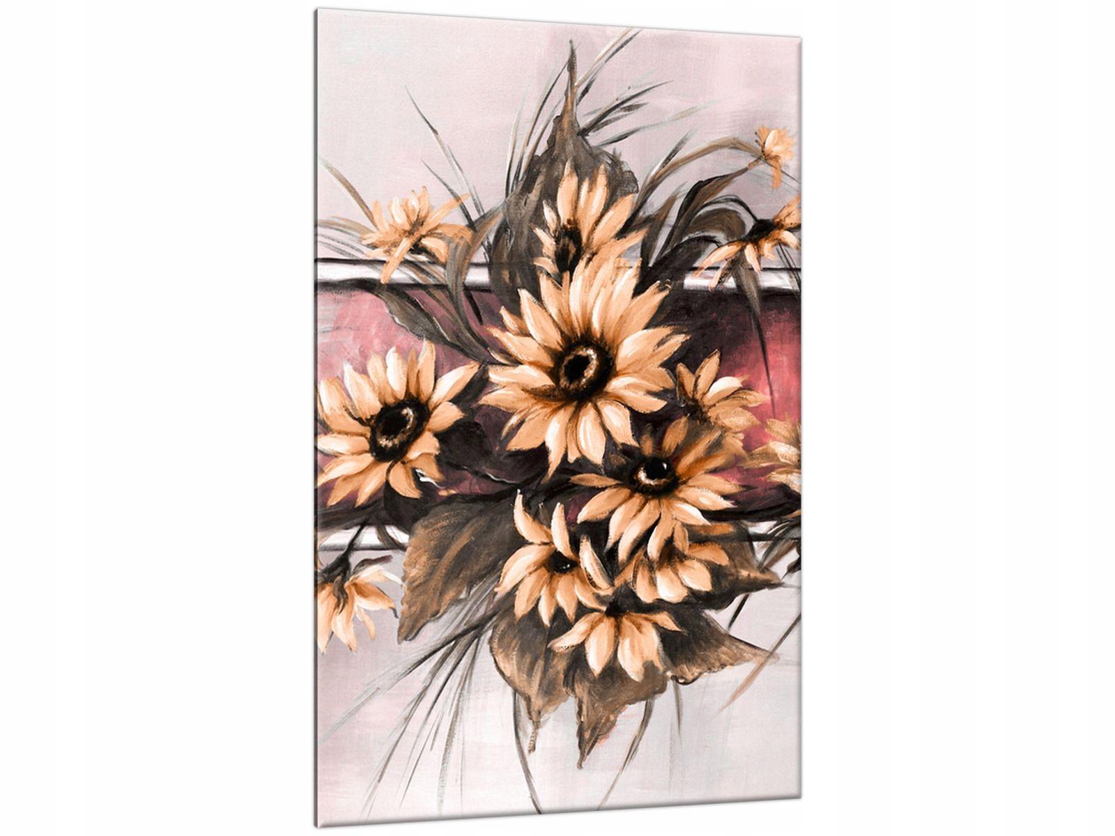 Obraz na Ścianę80x120 Słoneczniki w pudrowym rózu