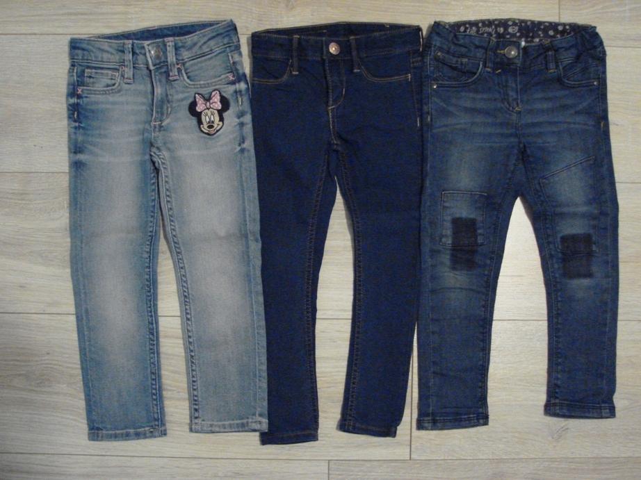 Zestaw spodni 98 jeansy rurki skinny 3szt
