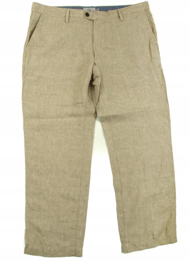 M&S proste spodnie LEN r W38 L29