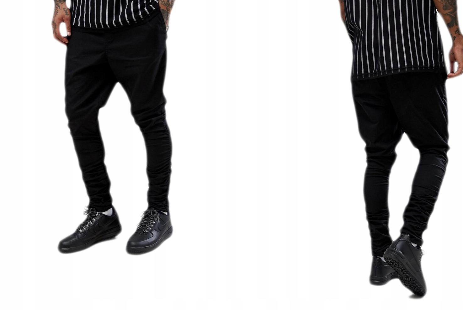 Spodnie męskie czarne slim joggers W34 L32