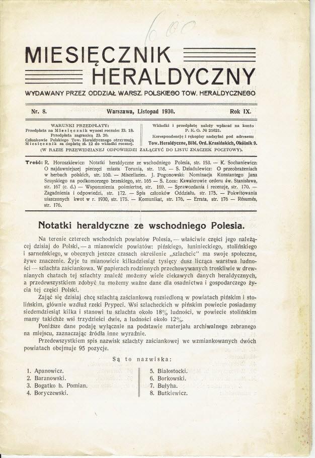 MIESIĘCZNIK HERALDYCZNY 1930 WSCHODNIE POLESIE