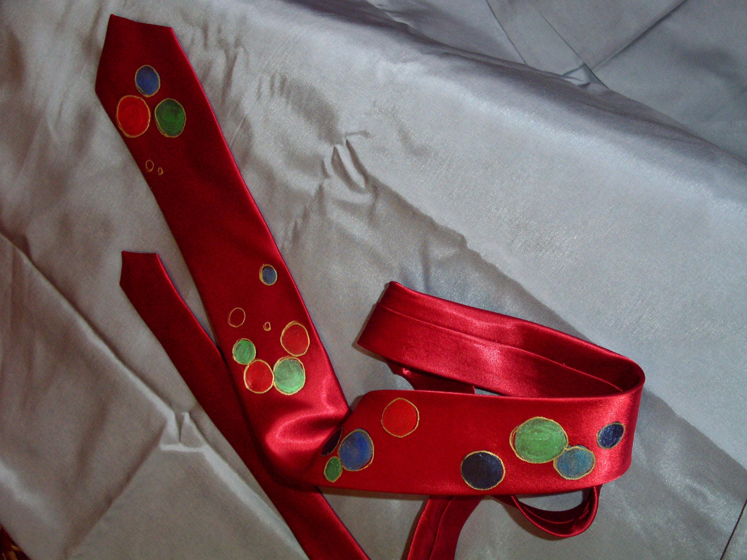 Satynowy krawat ręcznie malowany, prezent!
