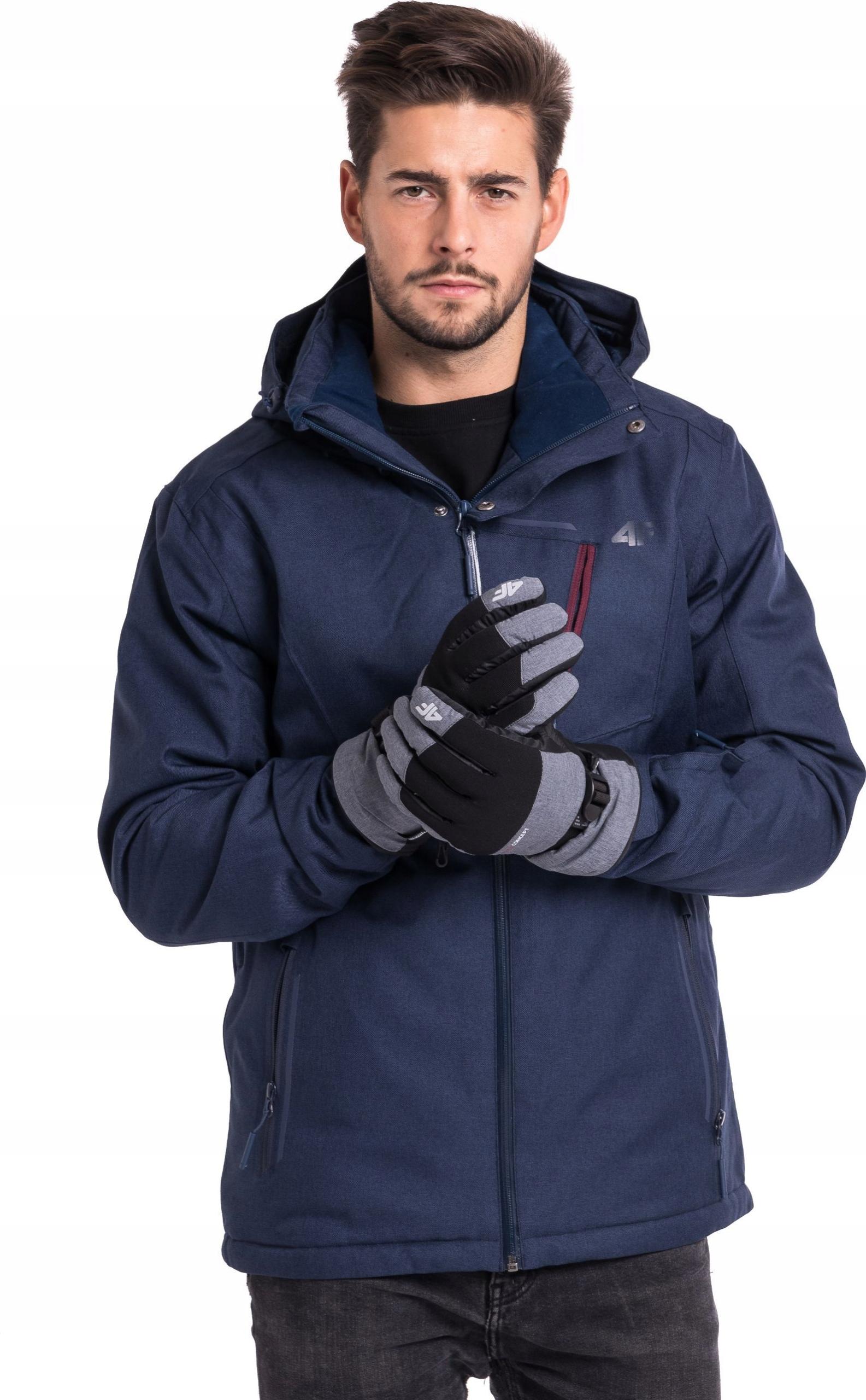 4f Rękawiczki męskie H4Z18-REM002 szare r. L
