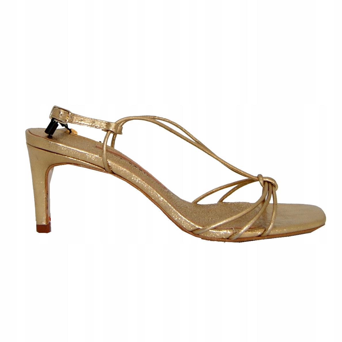 Sandały ZARA Basic, szpilki złote ,skóra roz 35
