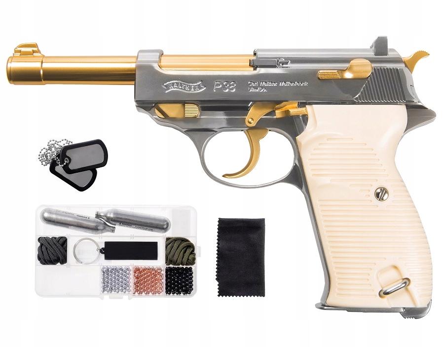 Wiatrówka pistolet Walther P38 Gold 4,5 mm ZESTAW