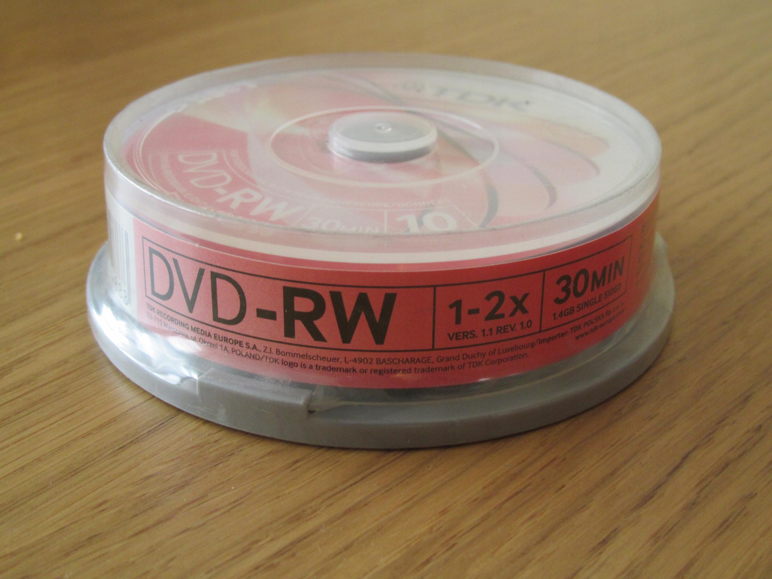 Płyty TDK DVD-RW 1.4GB x4 1op=10dvd np. do kamery