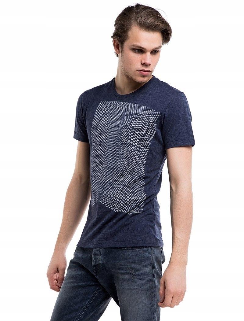 CALVIN KLEIN koszulka t-shirt granatowa nadruk L
