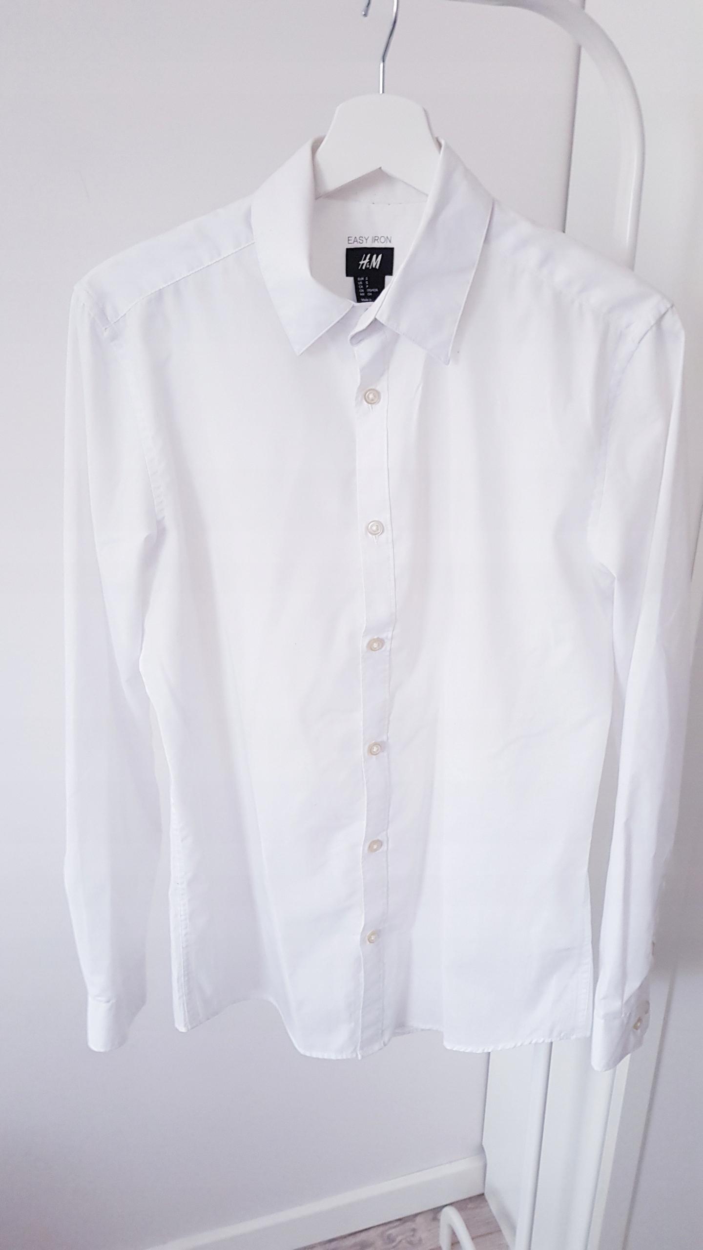 Koszula z długim rękawem S H&M gładka biała