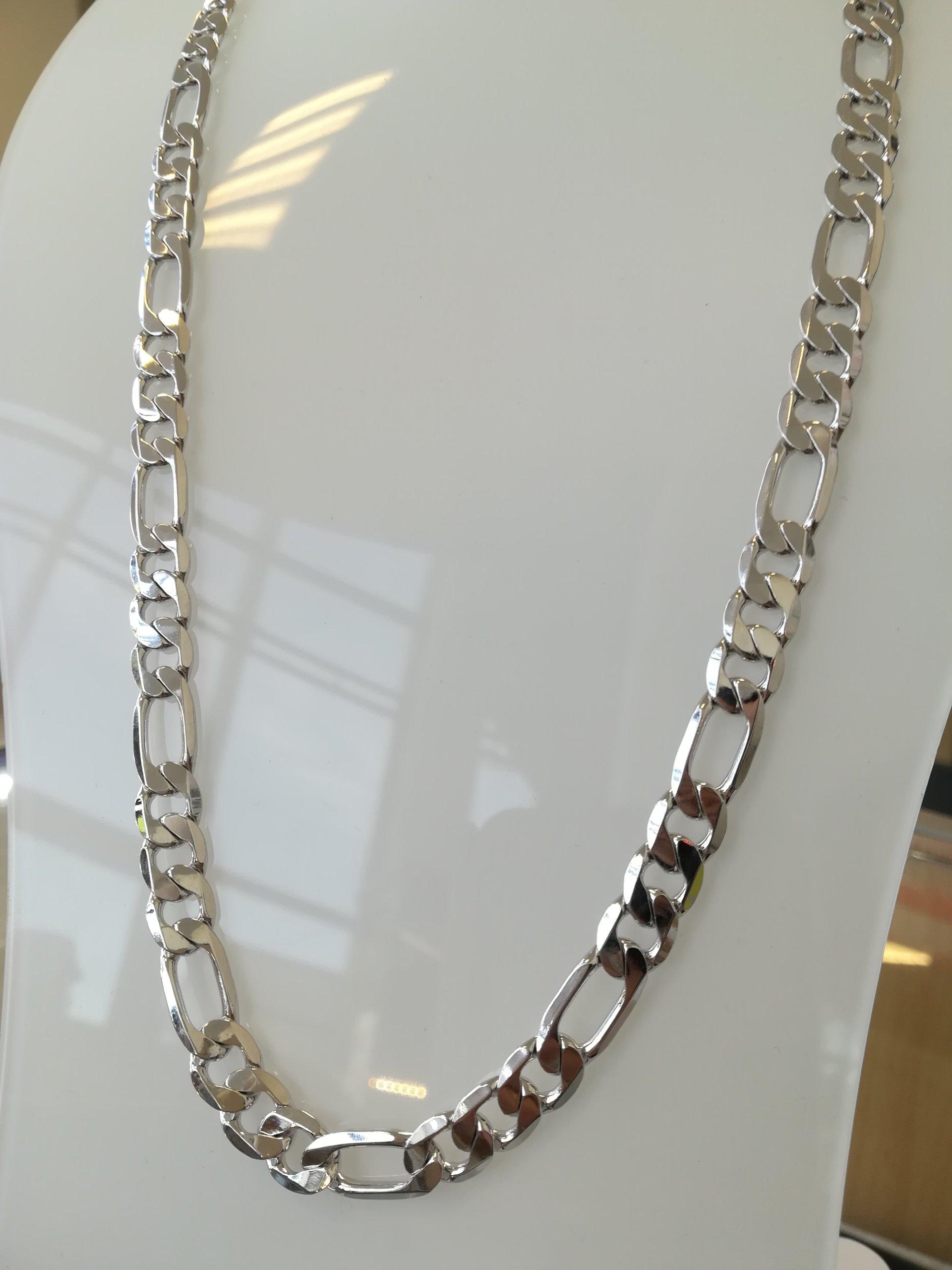 35a4631fcc8b76 Łańcuszek męski srebrny grube Figaro 1 cm Sklep - 7457454758 ...
