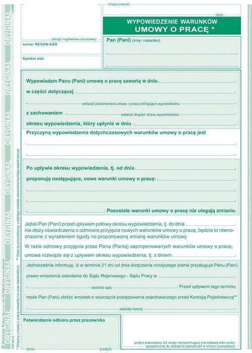 Druk 521 3 Wypowiedzenie Warunków Umowy O Pracę A5 7354251036
