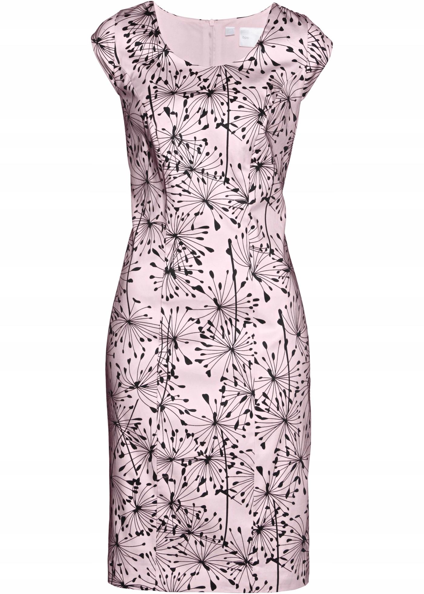 Sukienka róż/czarna Etui stretch Bawełna R 44