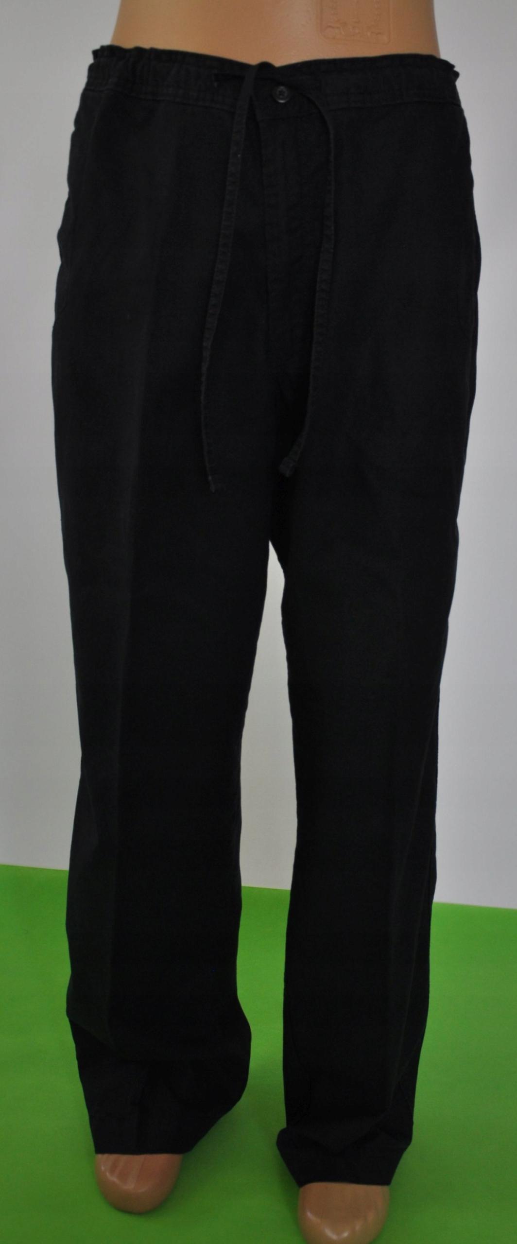BLUE HARBOUR spodnie lniane czarne 36/33pas 96 cm