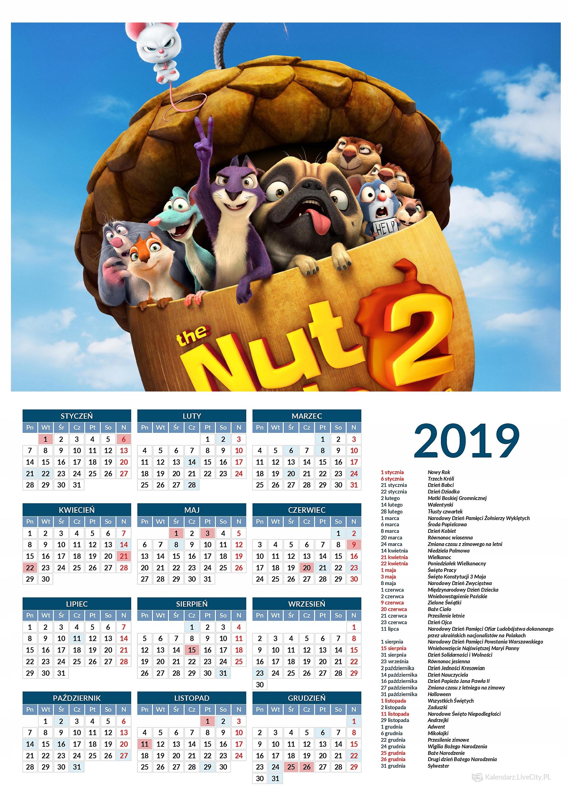 Kalendarz 2019 film gang wiewióra