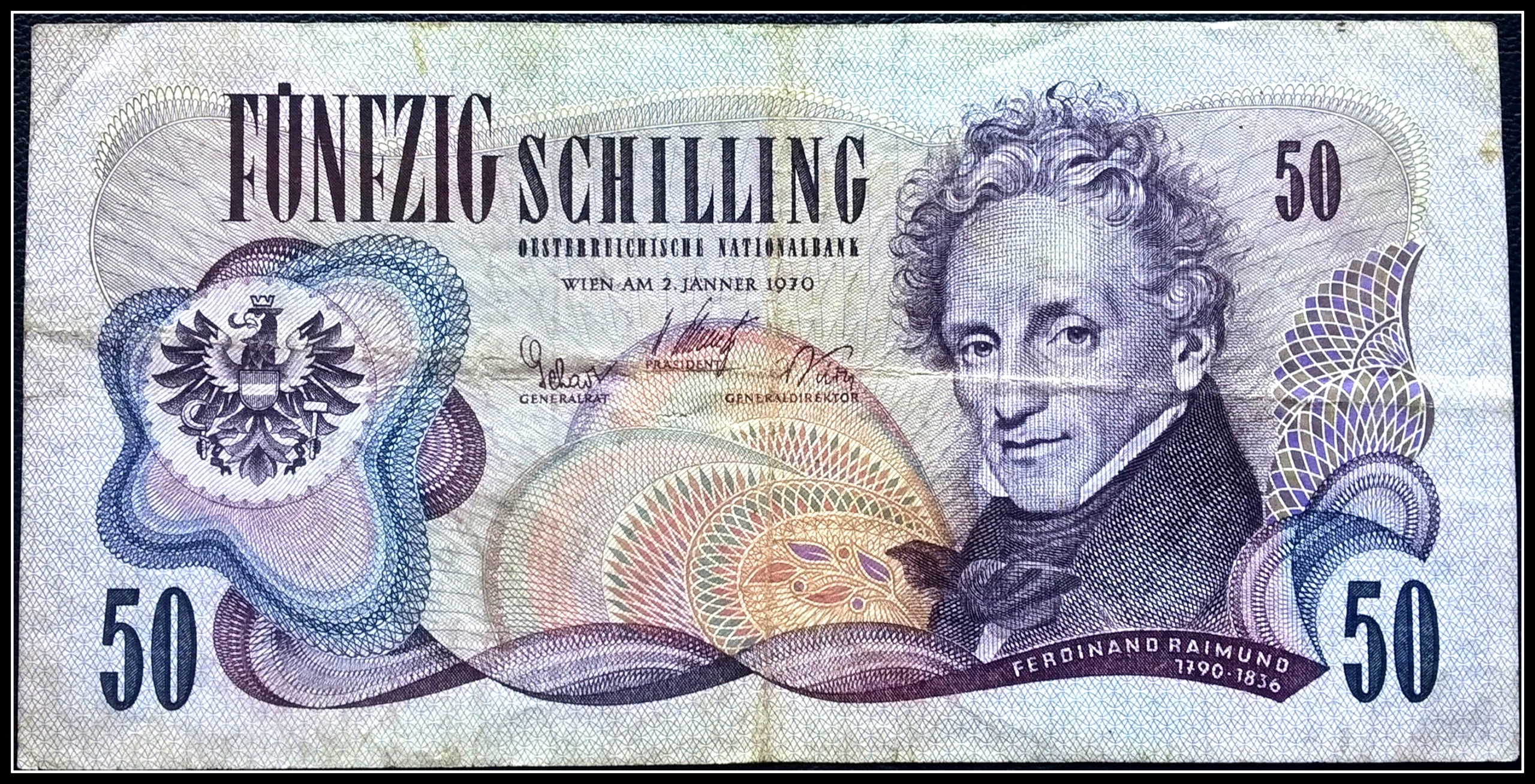 Banknot Austria 50 Szylingów 1970r.