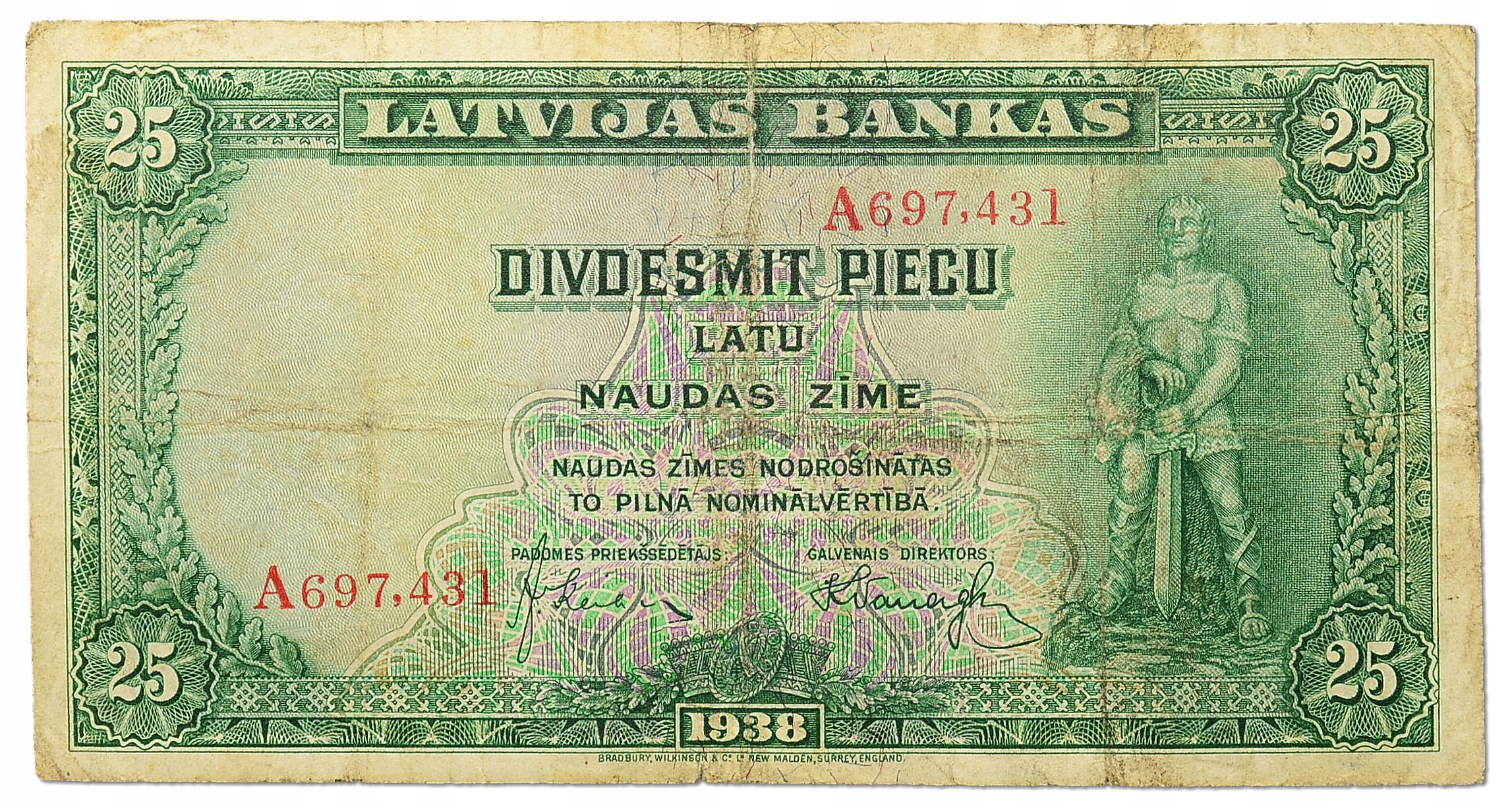 12.Łotwa, 25 Łatów 1938, P.21.a, St.3/3+