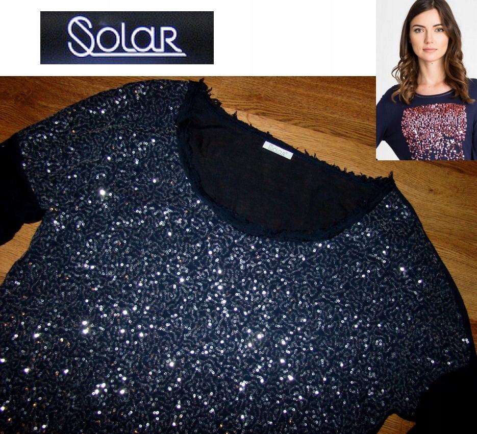 SOLAR piękna bluzka cekiny dłuższy tył idealna L