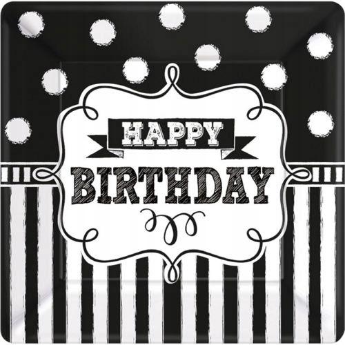Talerzyki urodzinowe Happy Birthday 17,8cm 8szt