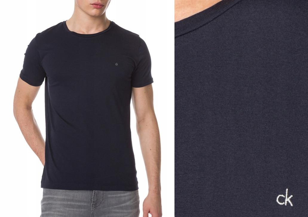CALVIN KLEIN koszulka t-shirt granatowa bawełna XL