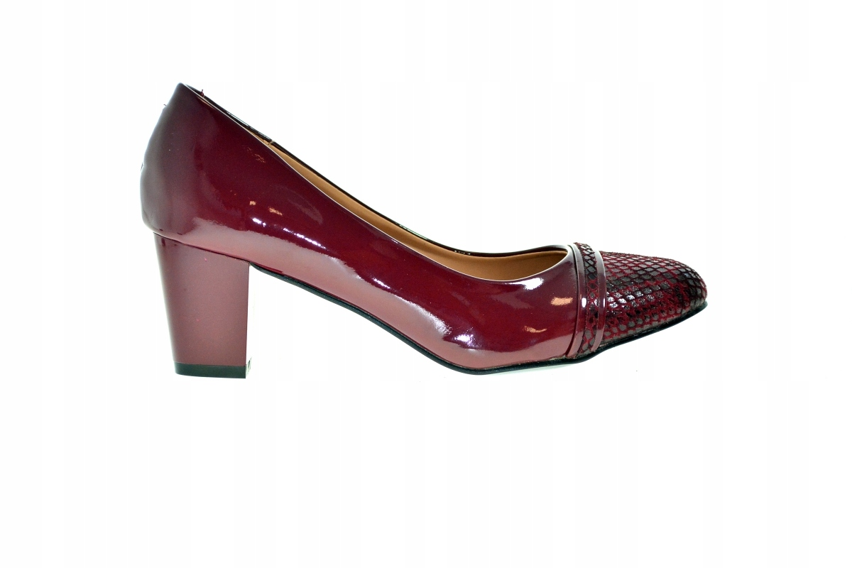 Bordowe buty niski obcas r.37