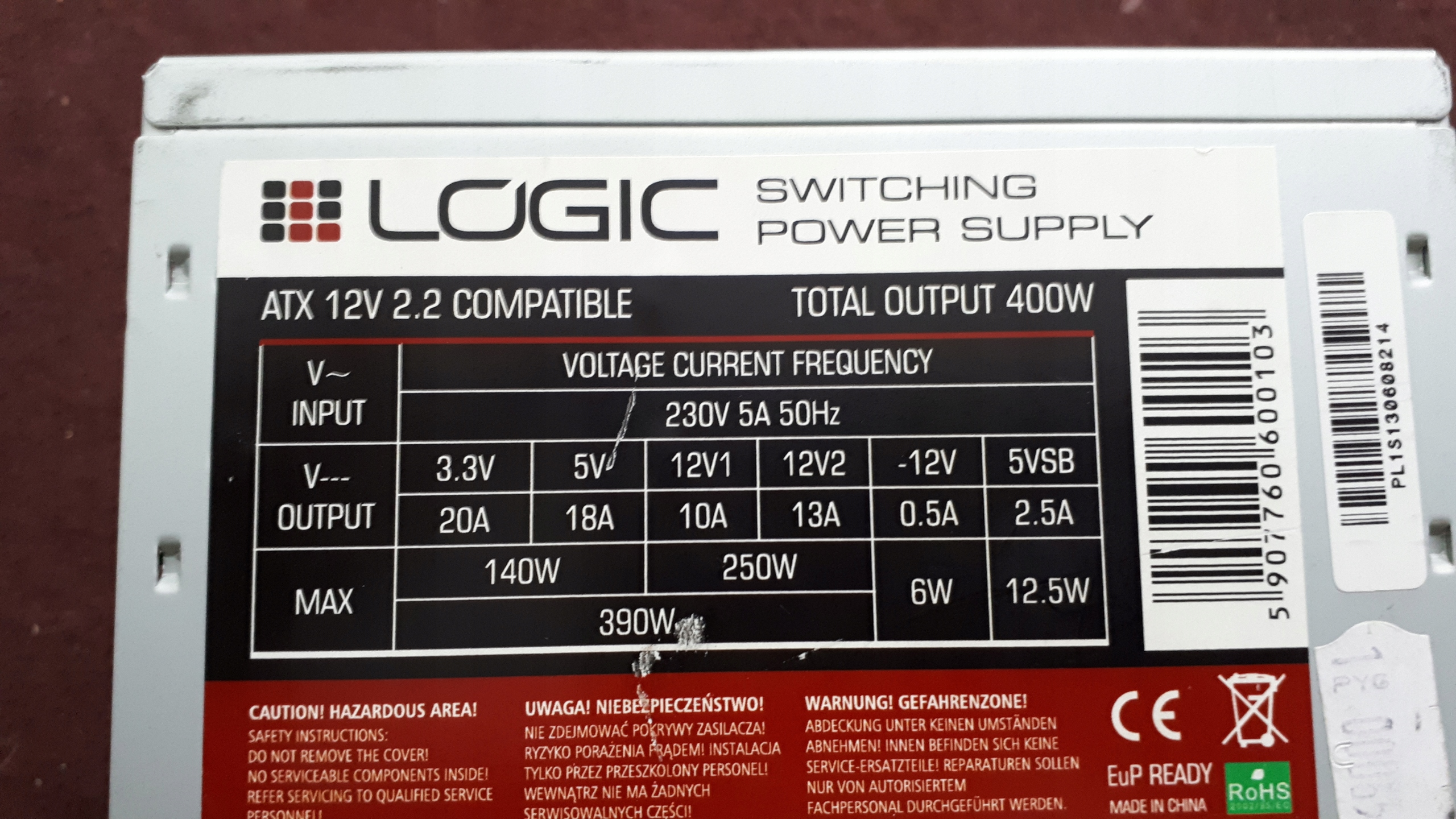 ZASILACZ Logic 400 wat opis