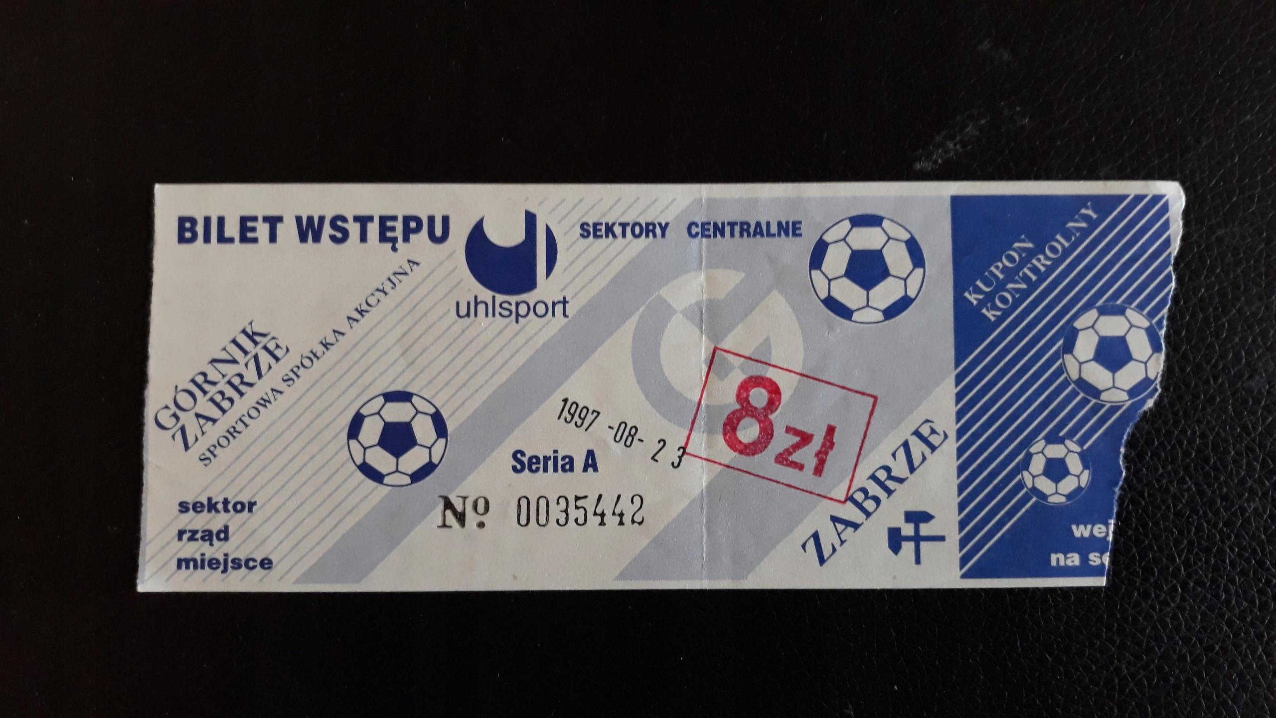 bilet Górnik Zabrze- Lech Poznań 23.08.1997