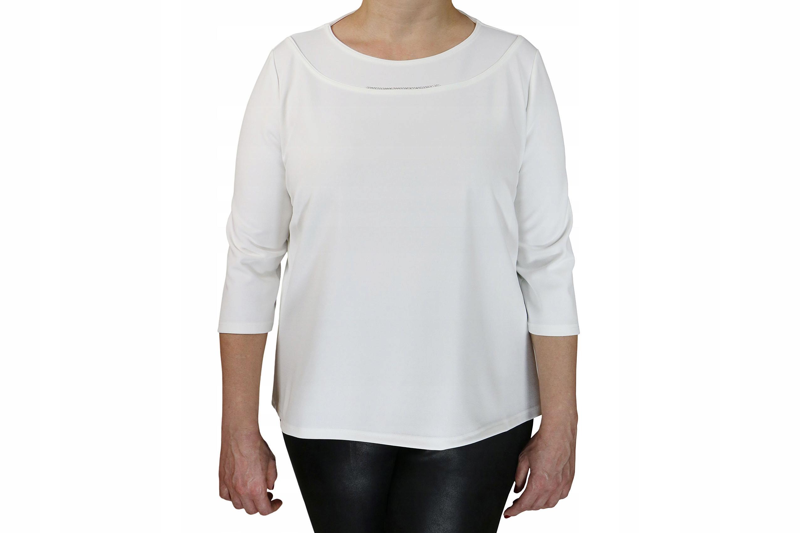 d6ca86056350c1 bluzka prosta elegancka dekolt cyrkonie 46 ecru - 7732847018 ...