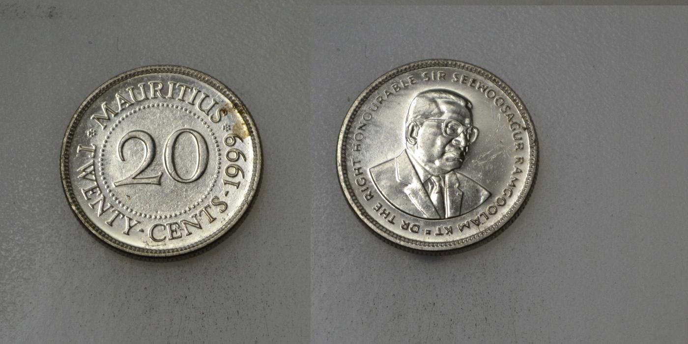 Mauritius 10 Cents 1999 rok BCM