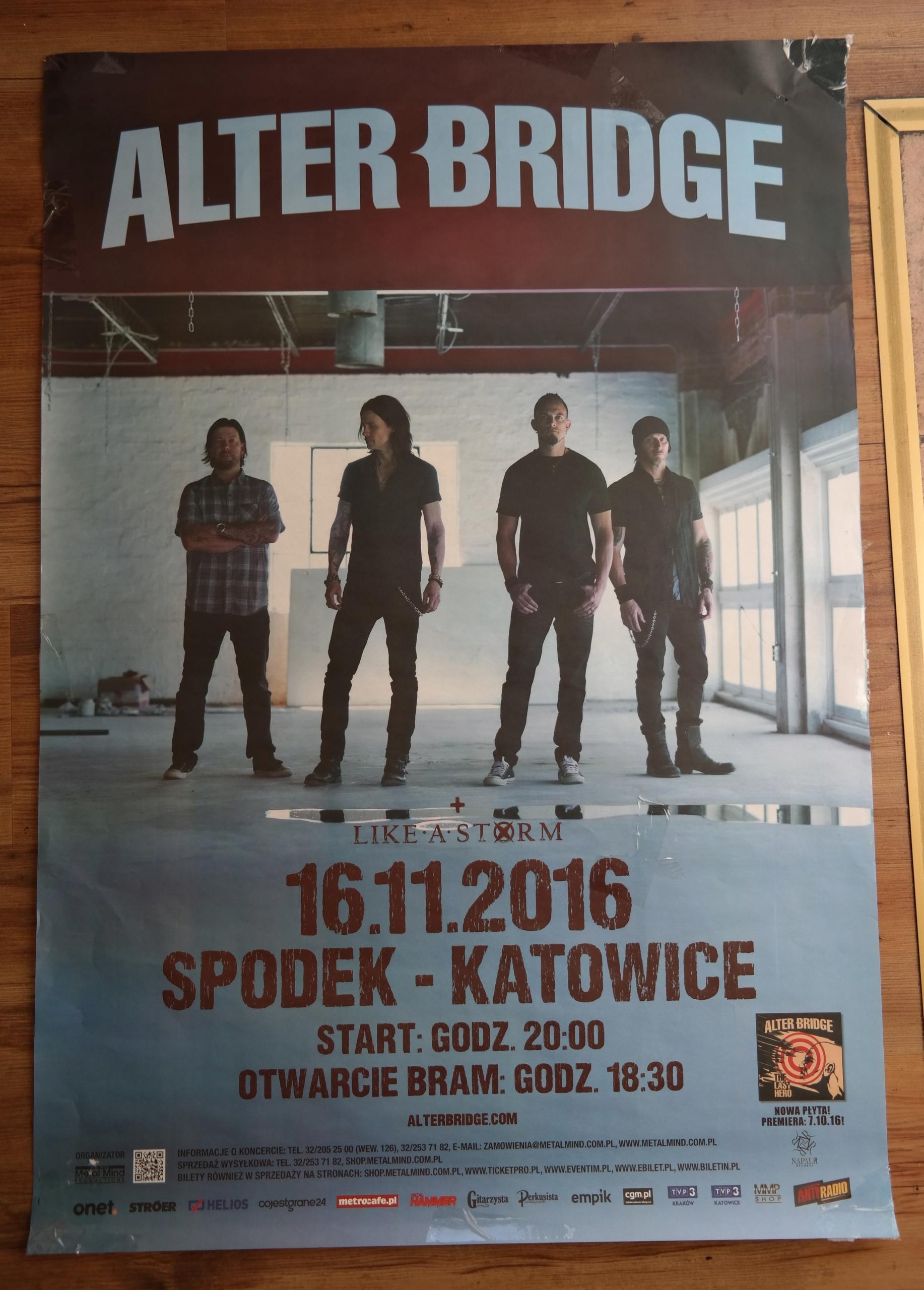 Alter Bridge Plakat Koncert Katowice 161116 7589906497
