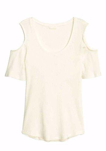 H&M top bluzka cold shoulder ecru 38 M