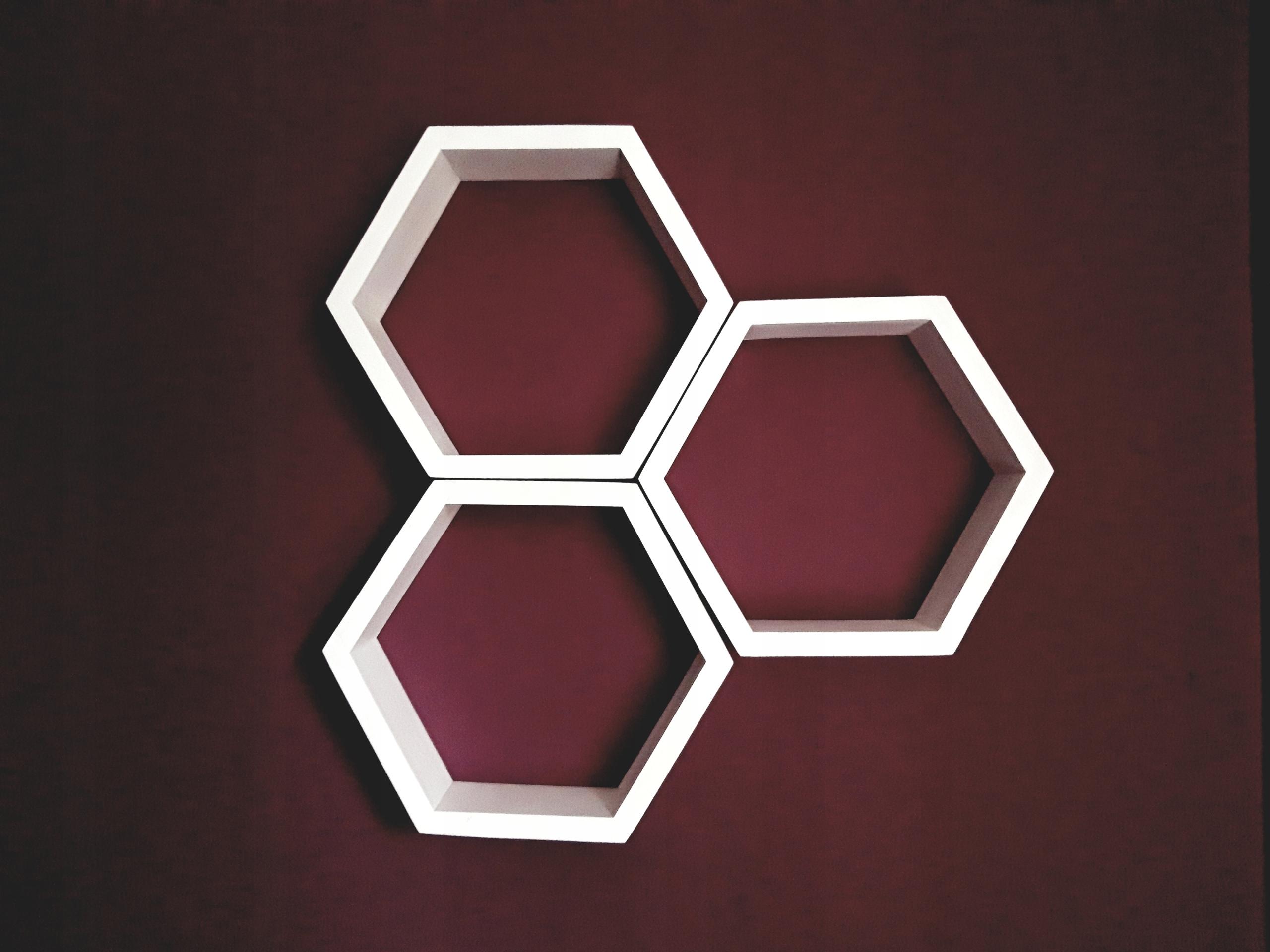 Półki Heksagon Plastry Miodu Komplet 3 Szt Białe