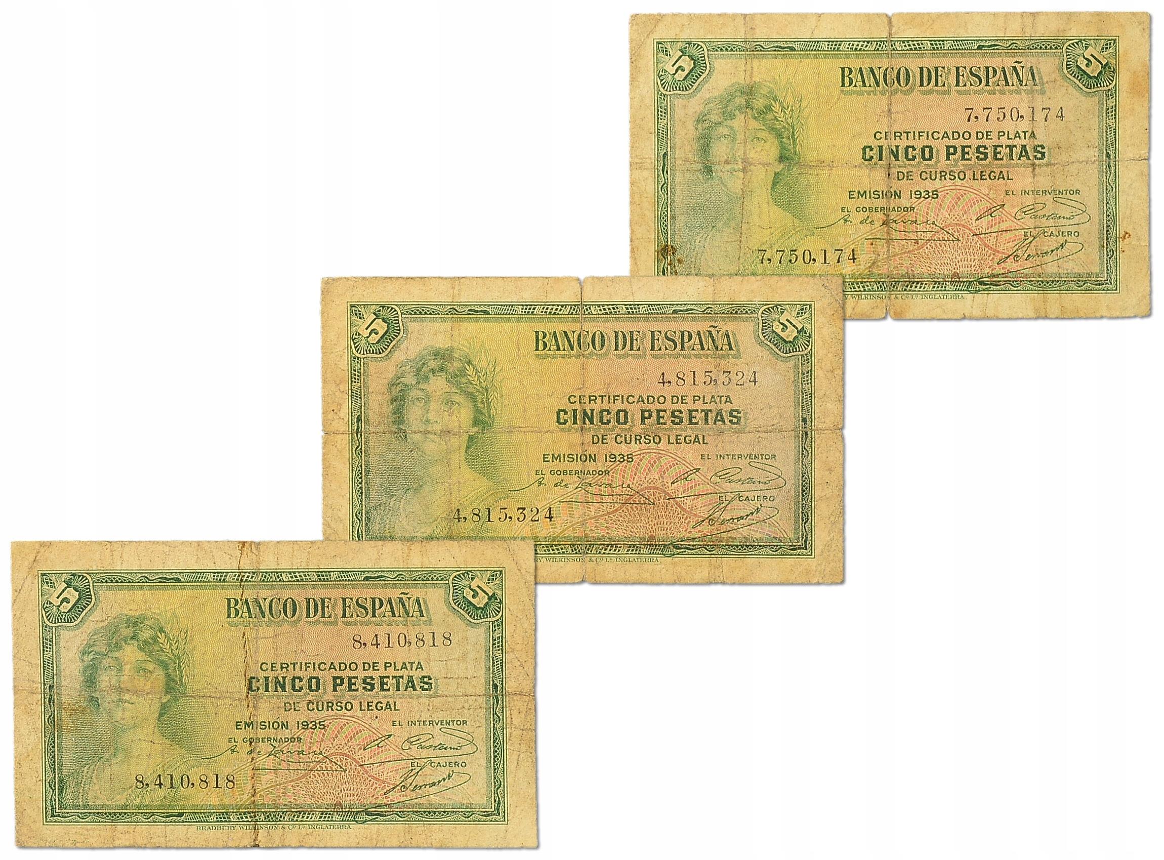 7.Hiszpania, 5 Peset 1935 - szt.3, P.85.a, St.3-