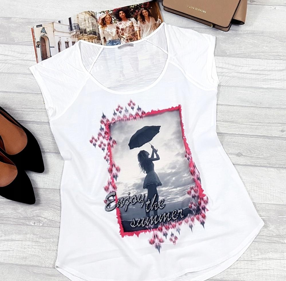 ORSAY _ biały LUŹNY top _ KRYSZTAŁKI _ print _ M/L